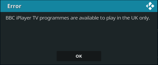 BBC iPlayer Error Kodi
