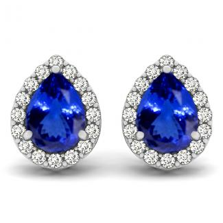 Pear Tanzanite Earrings with .256ctw Diamonds in 14K White Gold