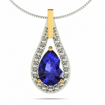 1.05ct Pear Tanzanite Pendant With .25ctw Diamonds in 14k White Gold