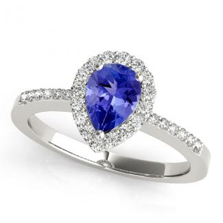 1.7ct Pear Tanzanite Ring With .224ctw Diamonds in 14k White Gold