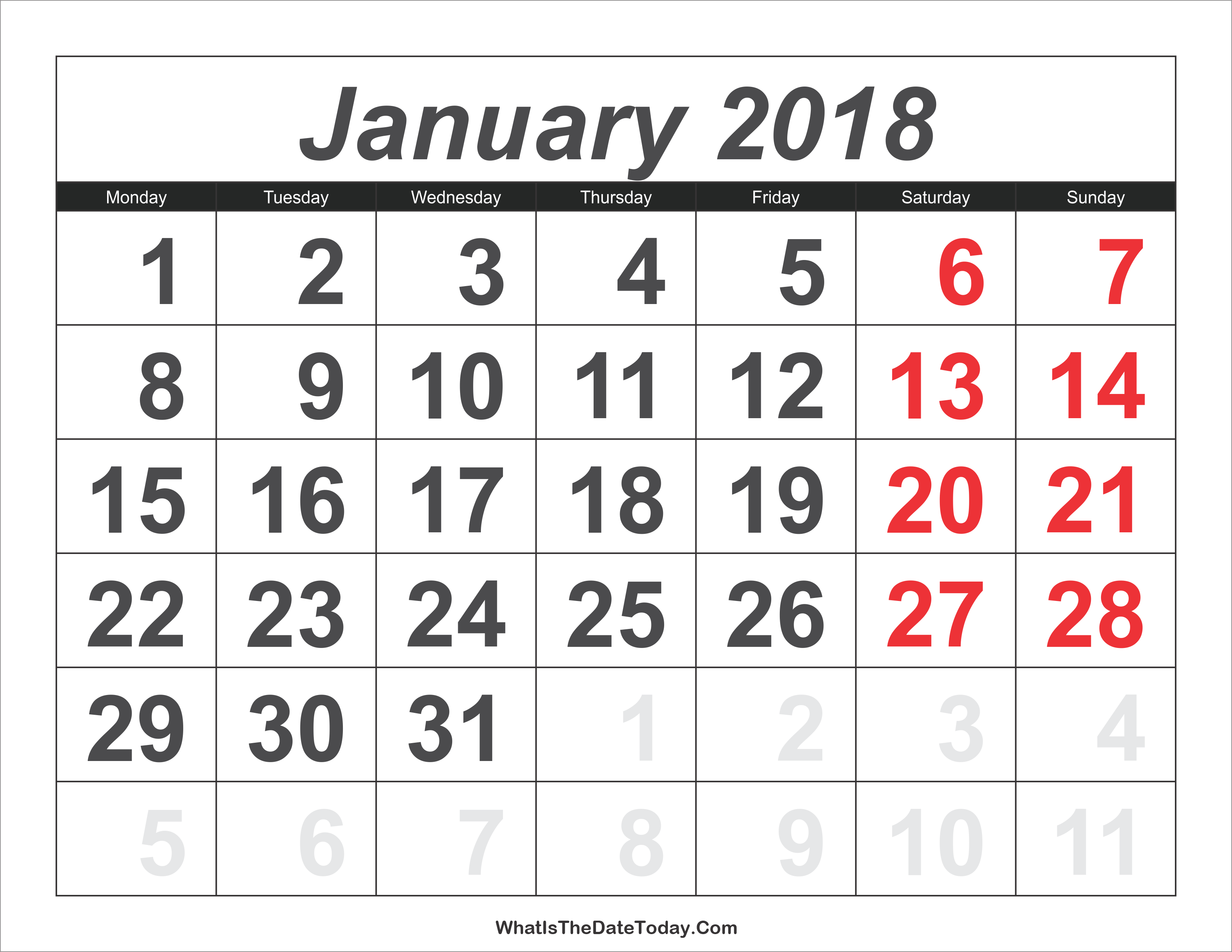 Calendar January With Large Numbers