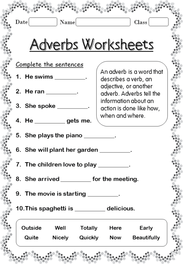 adverbs-worksheets-forgrade-2 - Your Home Teacher