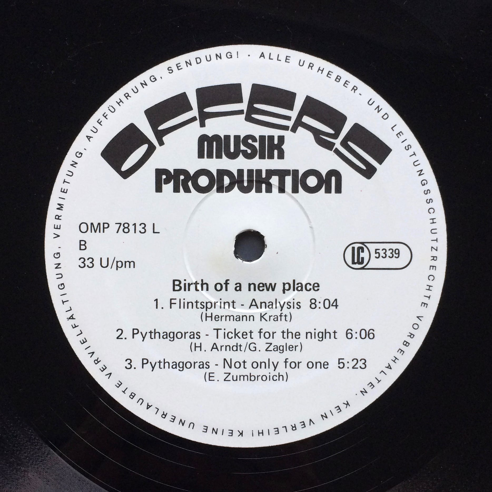 Various  Birth Of A New Place –  Offers Musik Produktion – OMP 7813L Germany 1978