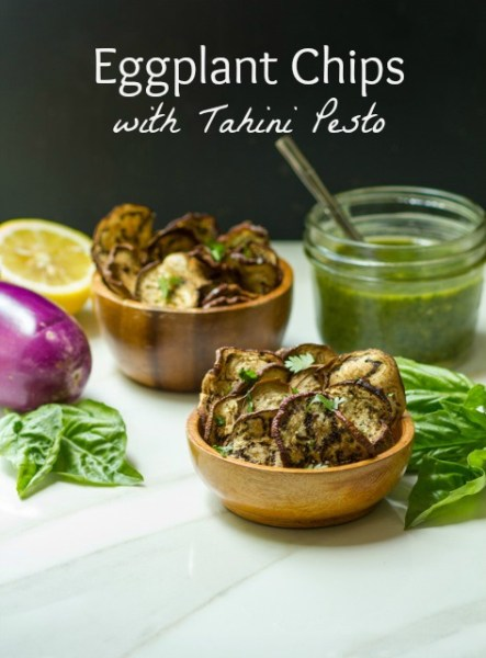 Eggplant Chips with Tahini Pesto