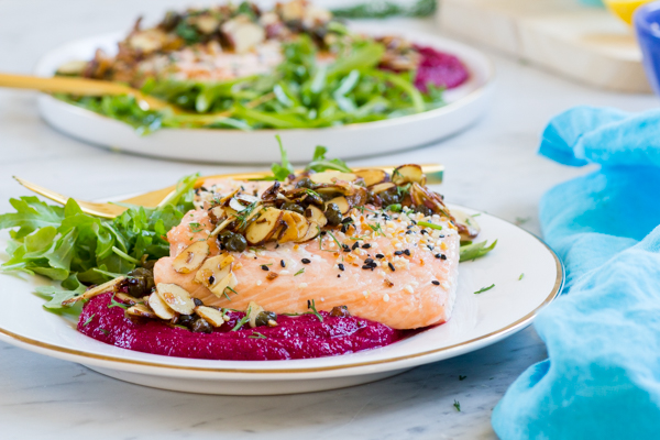 Lemon Caper Almond Salmon over Beet Puree-2