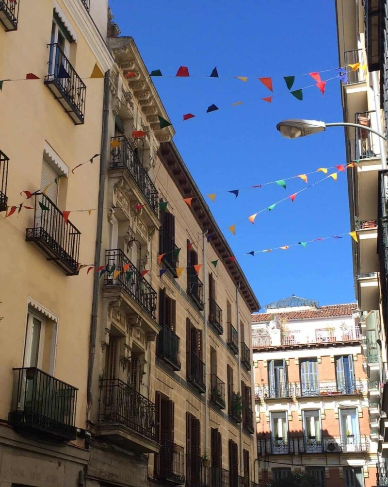 Colourful bunting in Madrid