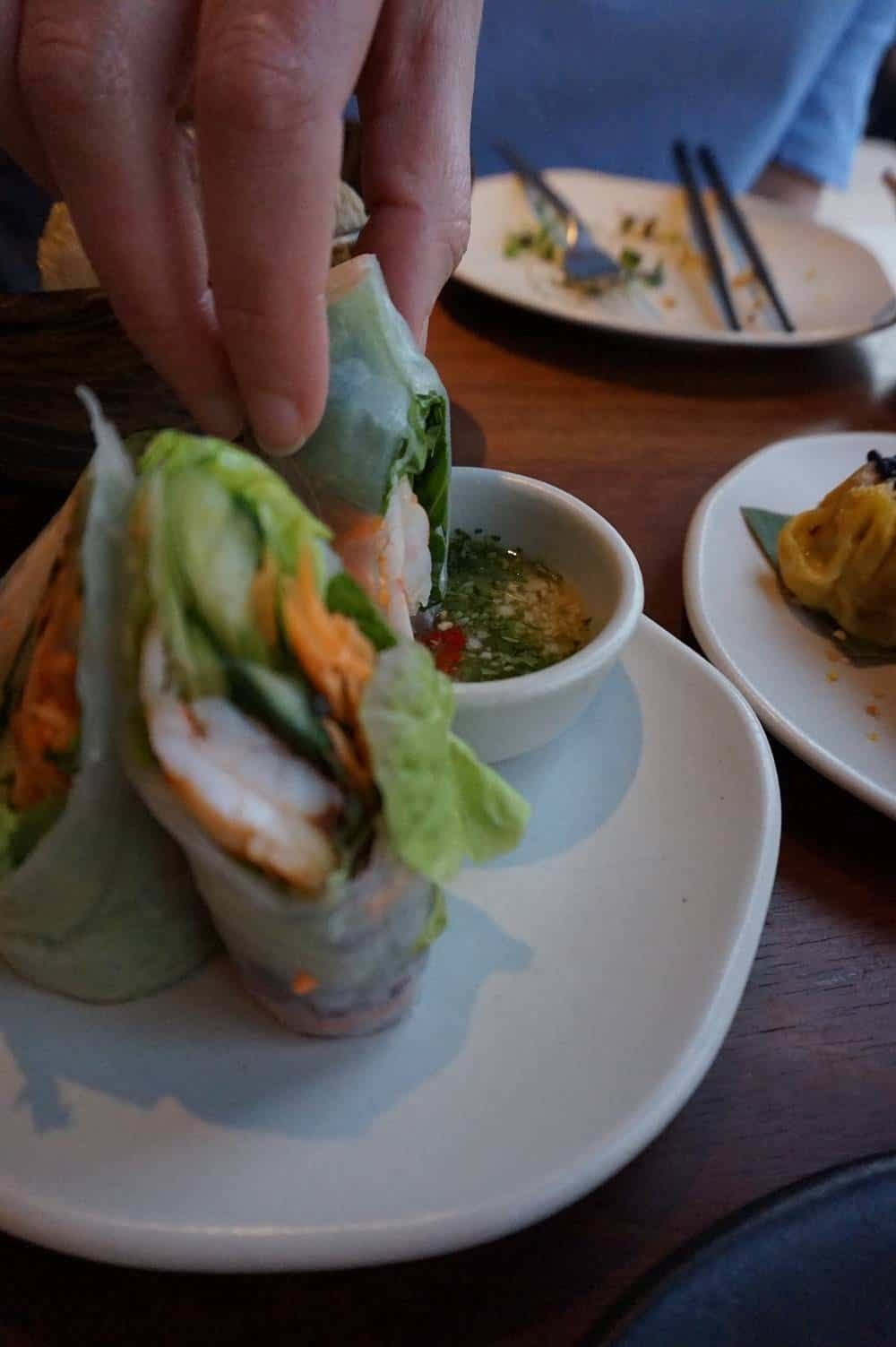 Prawn rice paper rolls from Patara
