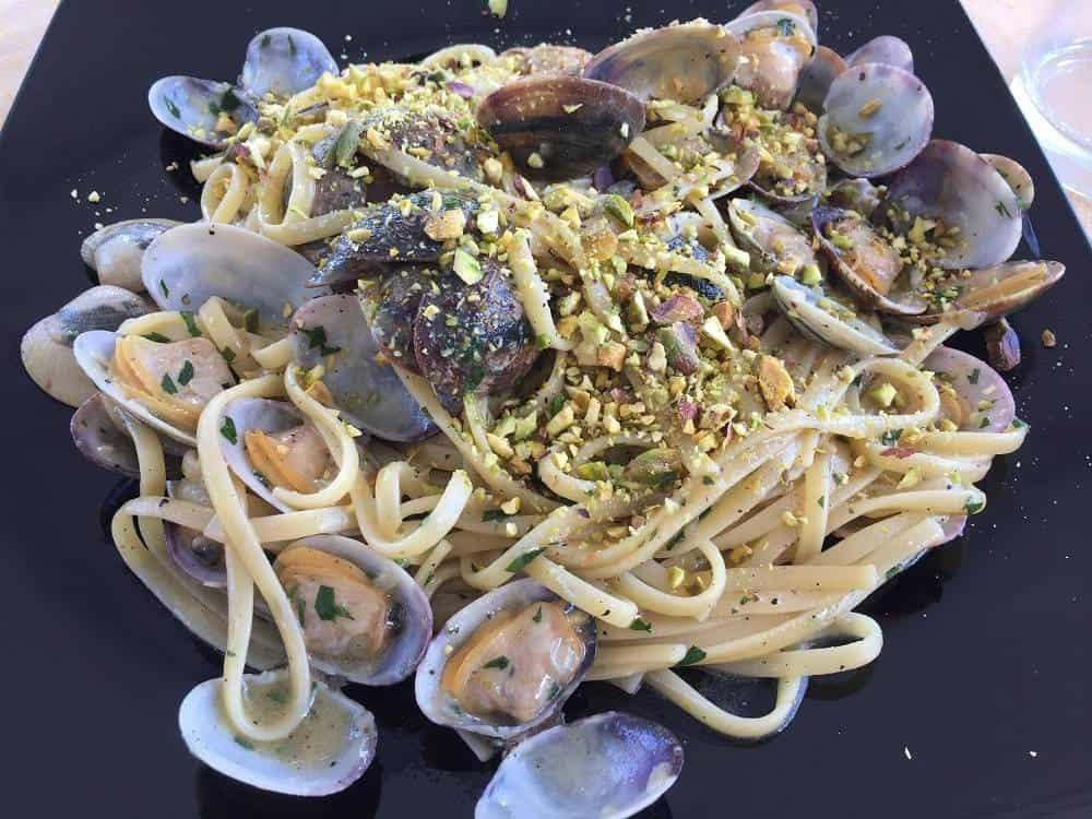 Spaghetti vongole pasta from Vulcano in Italy