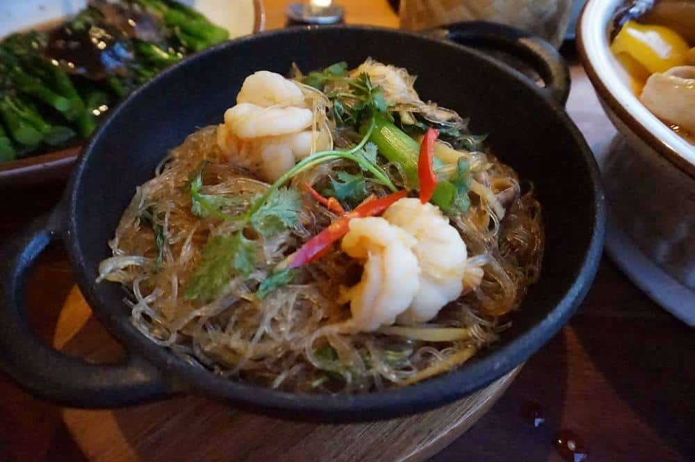 Steamed glass noodles with prawns from Patara