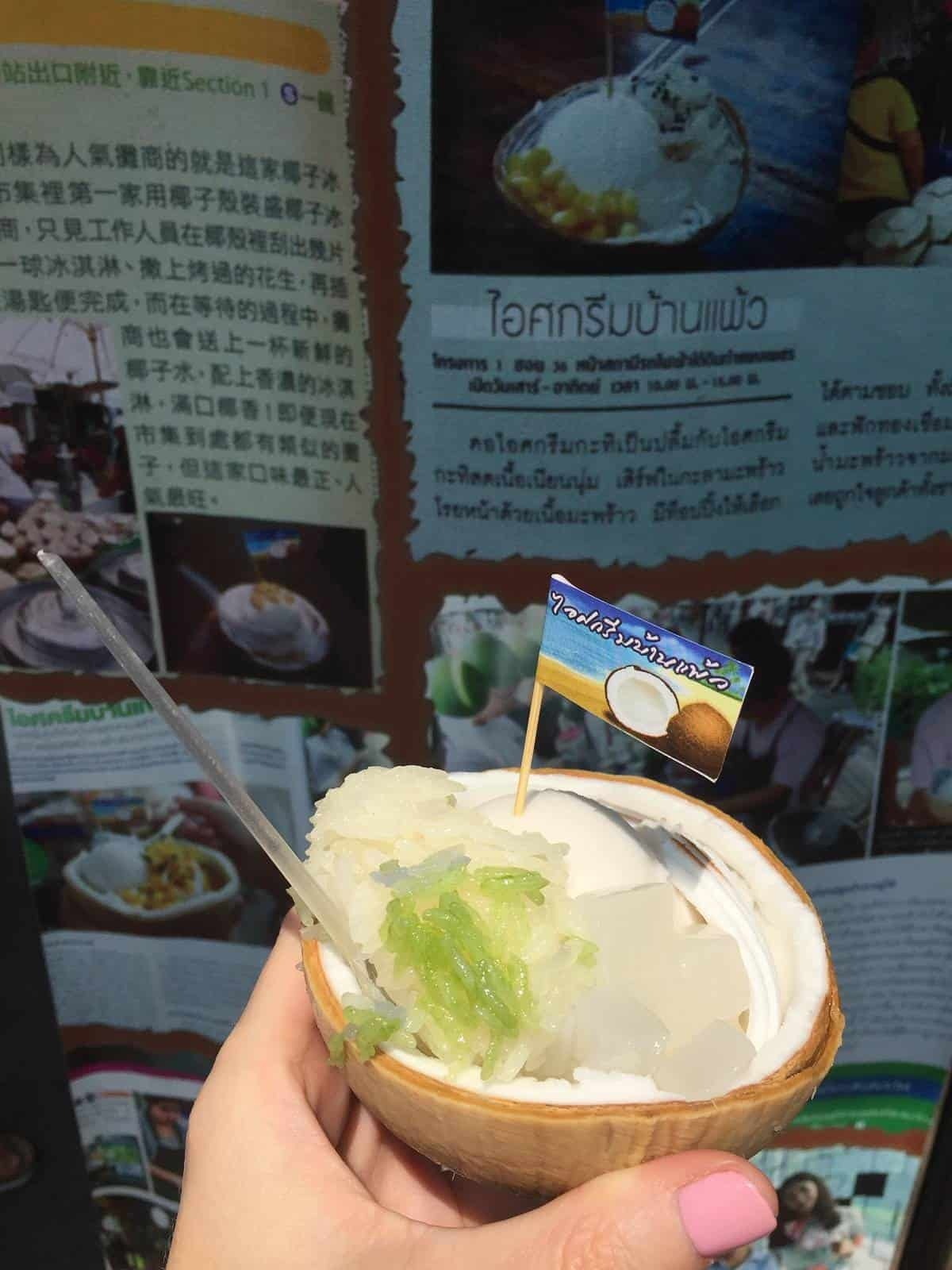 Coconut ice cream with rice from Chatuchak market in Bangkok