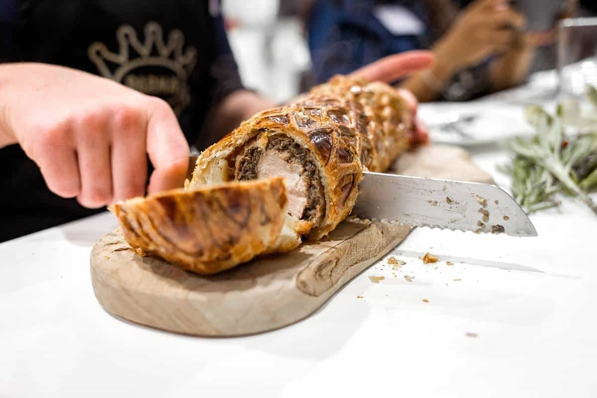Cutting in to the pork Wellington