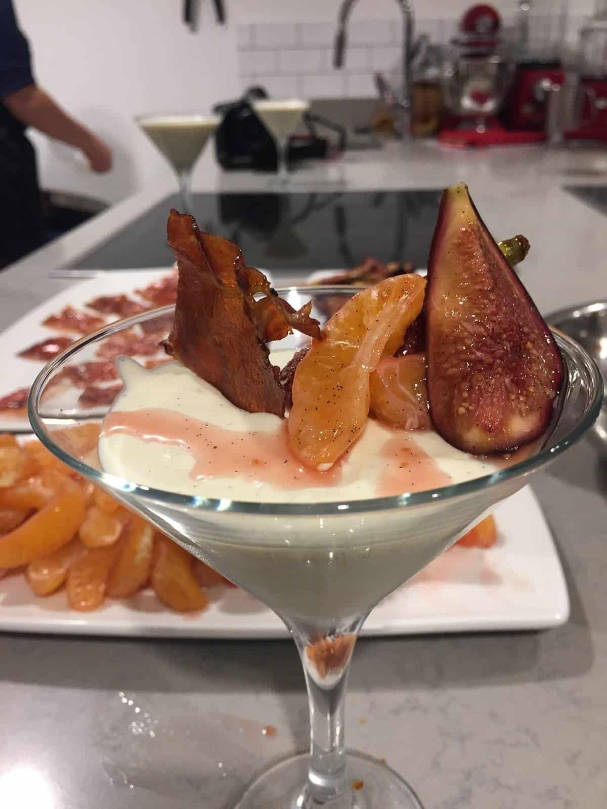 Panna Cotta with honey glazed Parma Ham