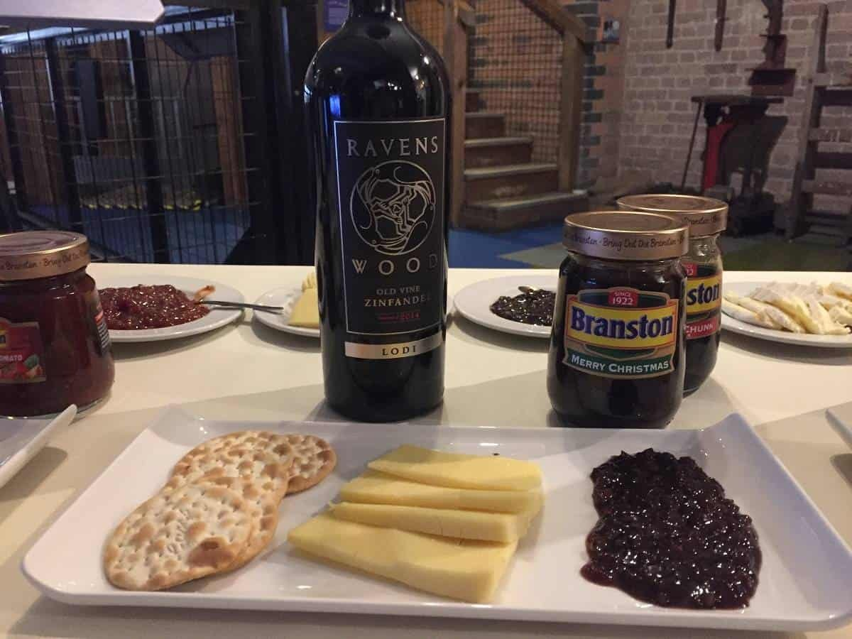 Cheese wine and pickle pairing with Branston