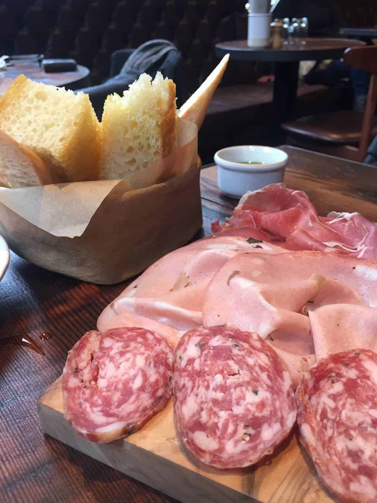 Bread and salumi at Flour and Grape in Bermondsey