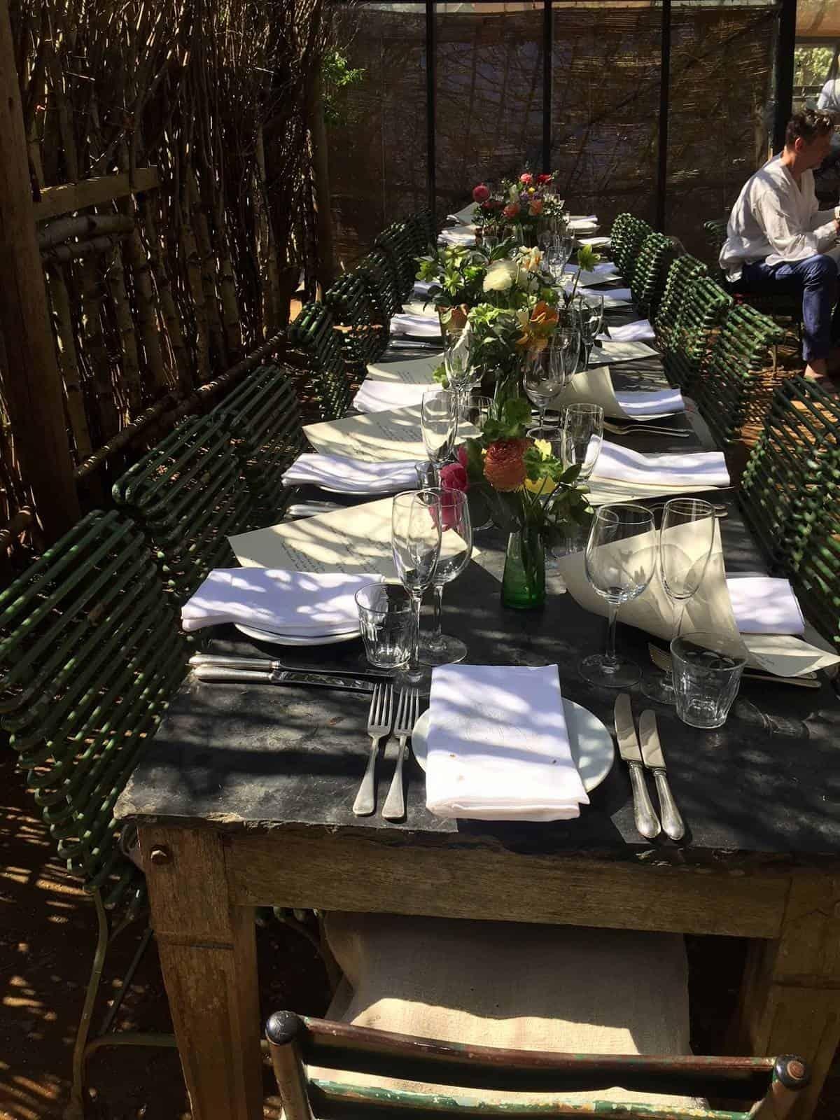 Beautiful table decor at Petersham Nurseries