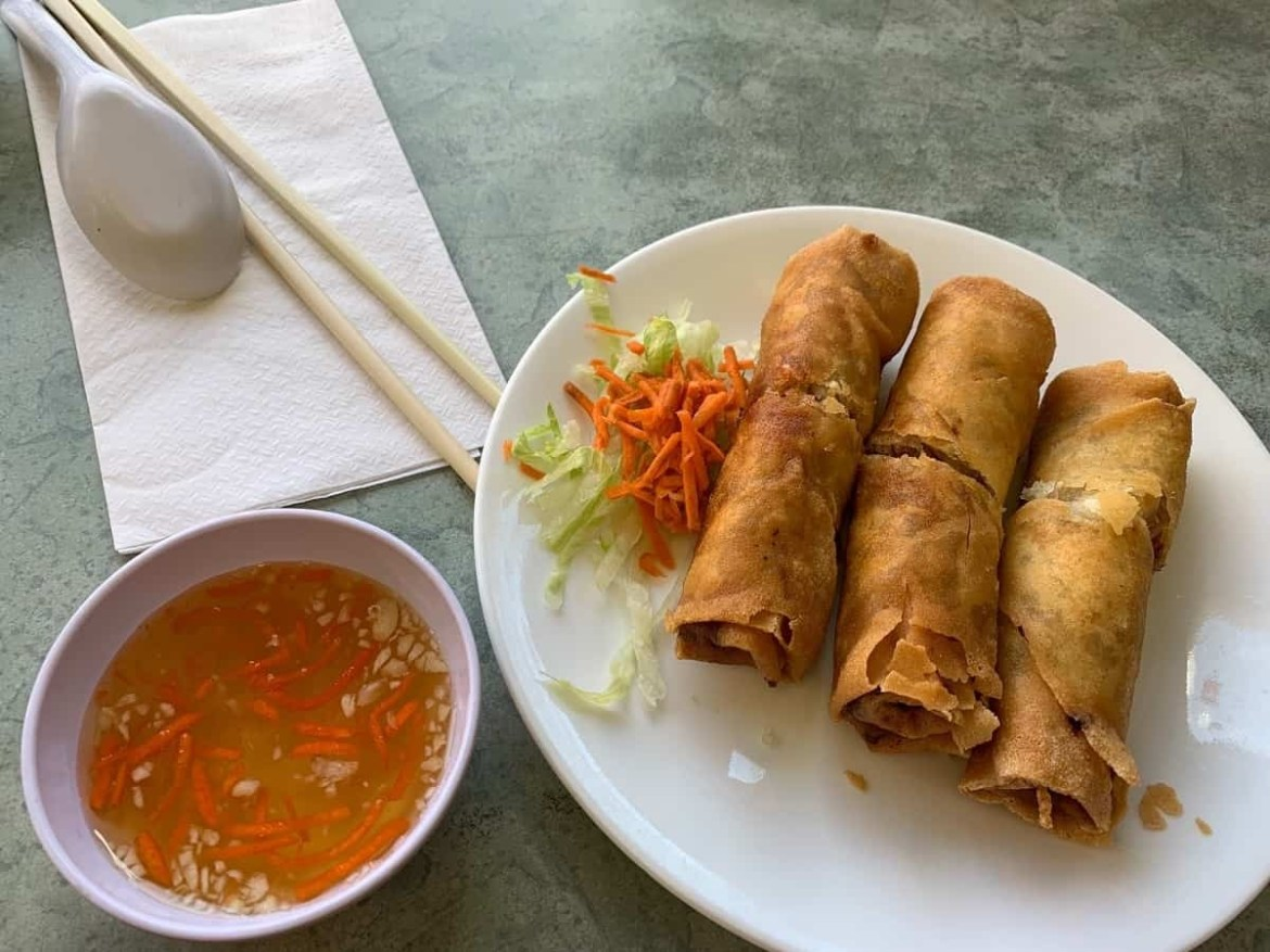 Spring rolls at Pagolac in Chinatown