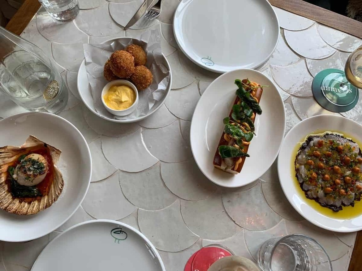 Lunch dishes at Seabird