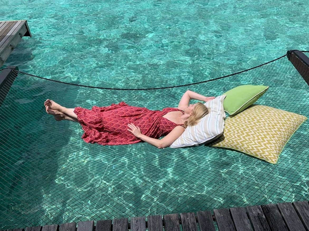 Lying on a hammock at Reethi Rah Maldives