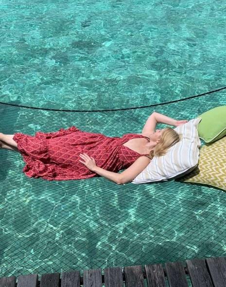 Lying on a hammock at Reethi Rah Maldives