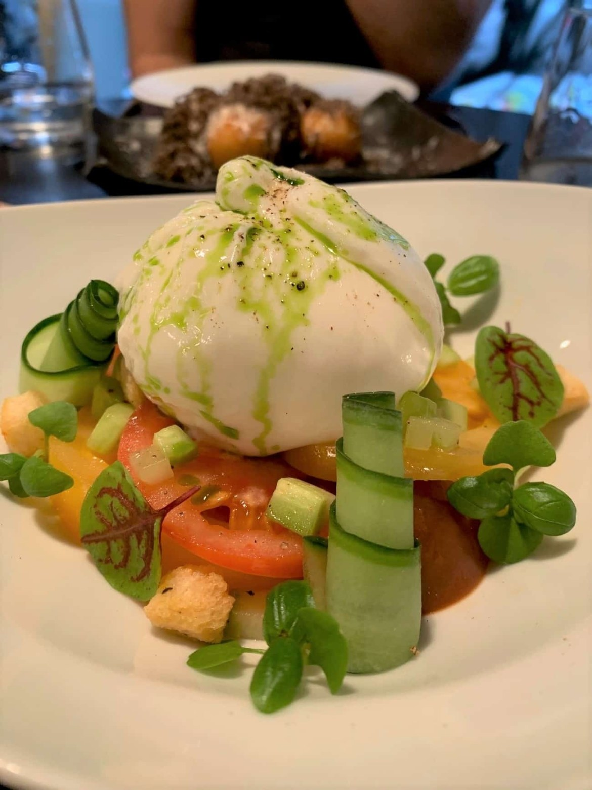 Burrata with tomatoes and cucumber