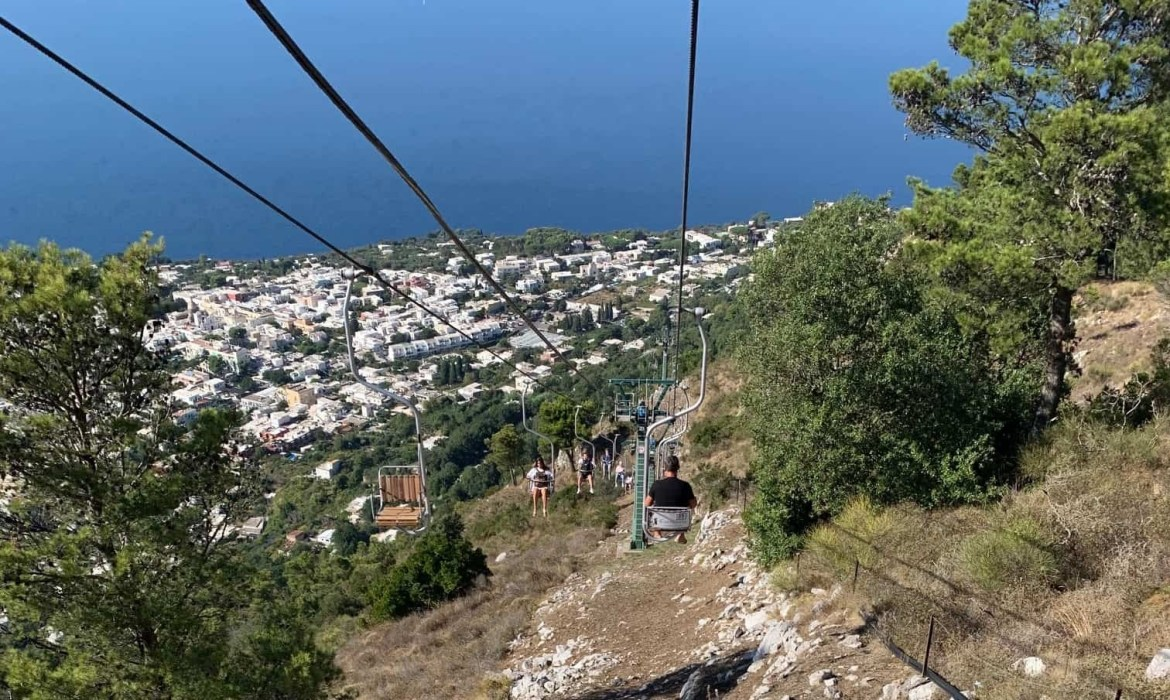 Monte Solaro chair lift with view over Anacapri