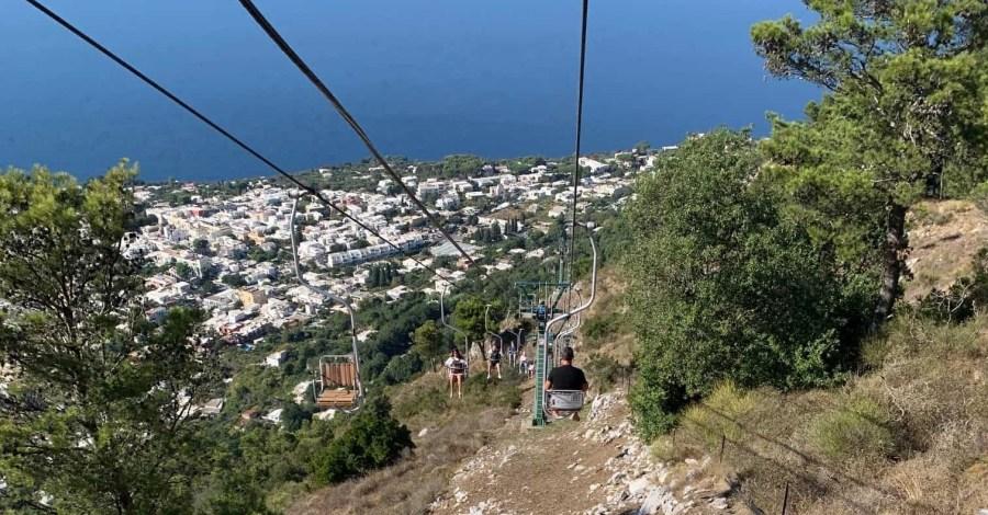 Monte Solaro chair lift with view over Anacapri