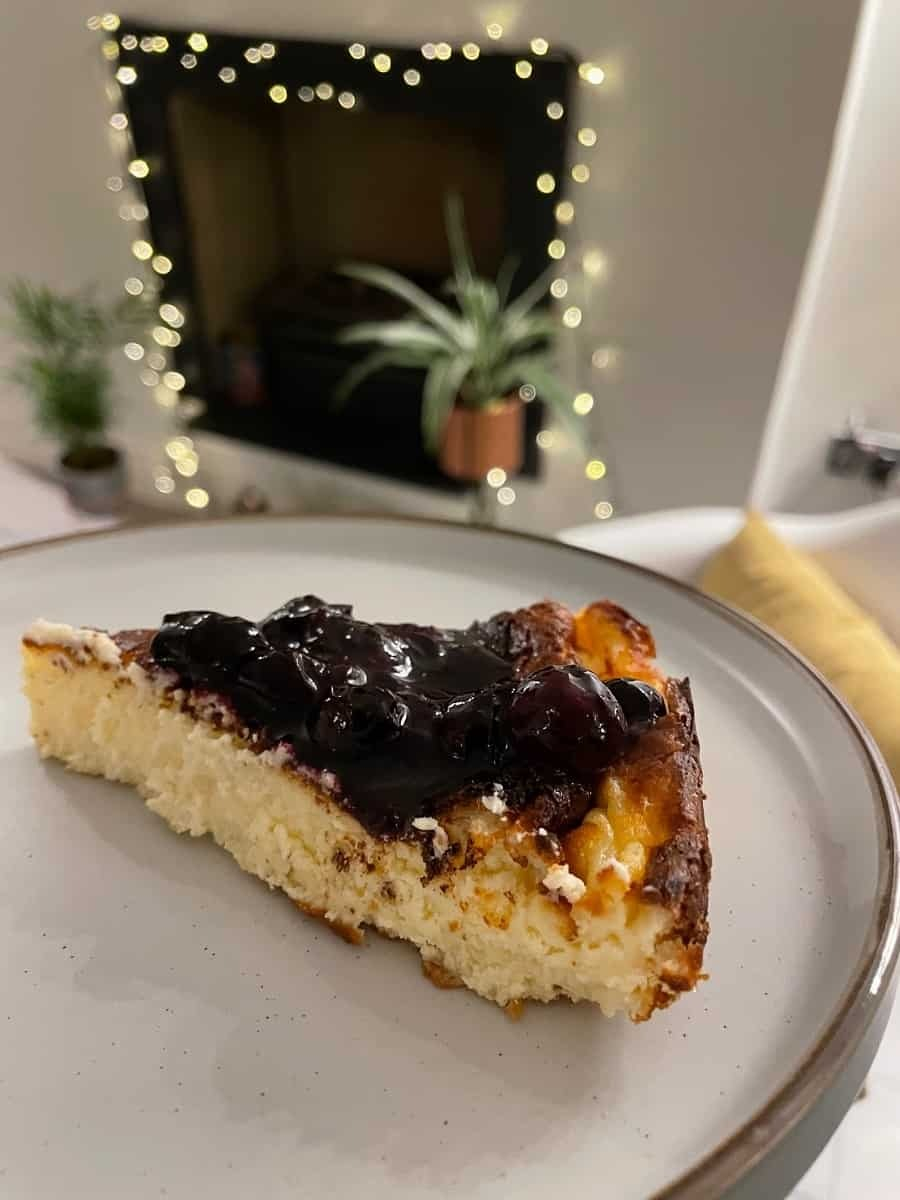 Homemade cheesecake with blueberry compote