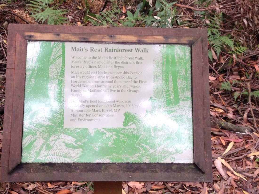 Mait's Rest Rainforest Walk sign