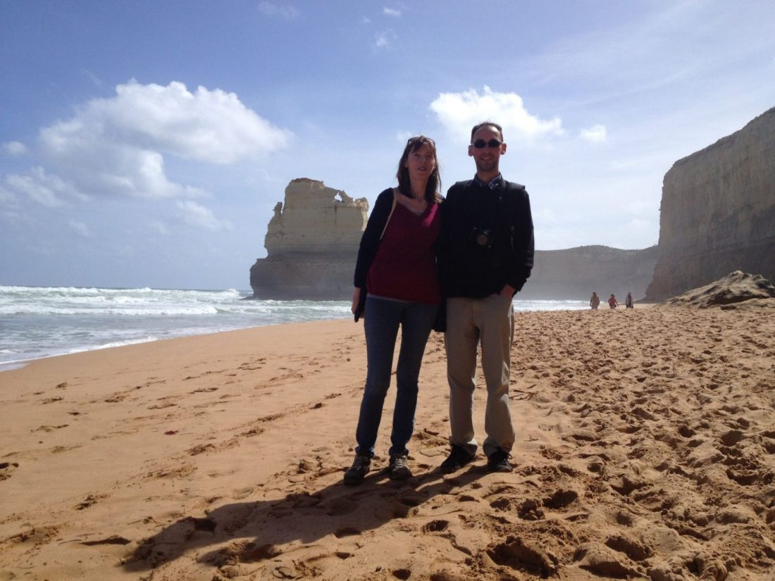 Mum and Paul on the Twelve Apostles beach