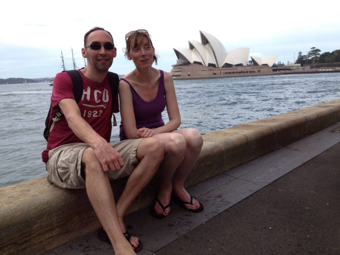Posing in front of Sydney Opera House