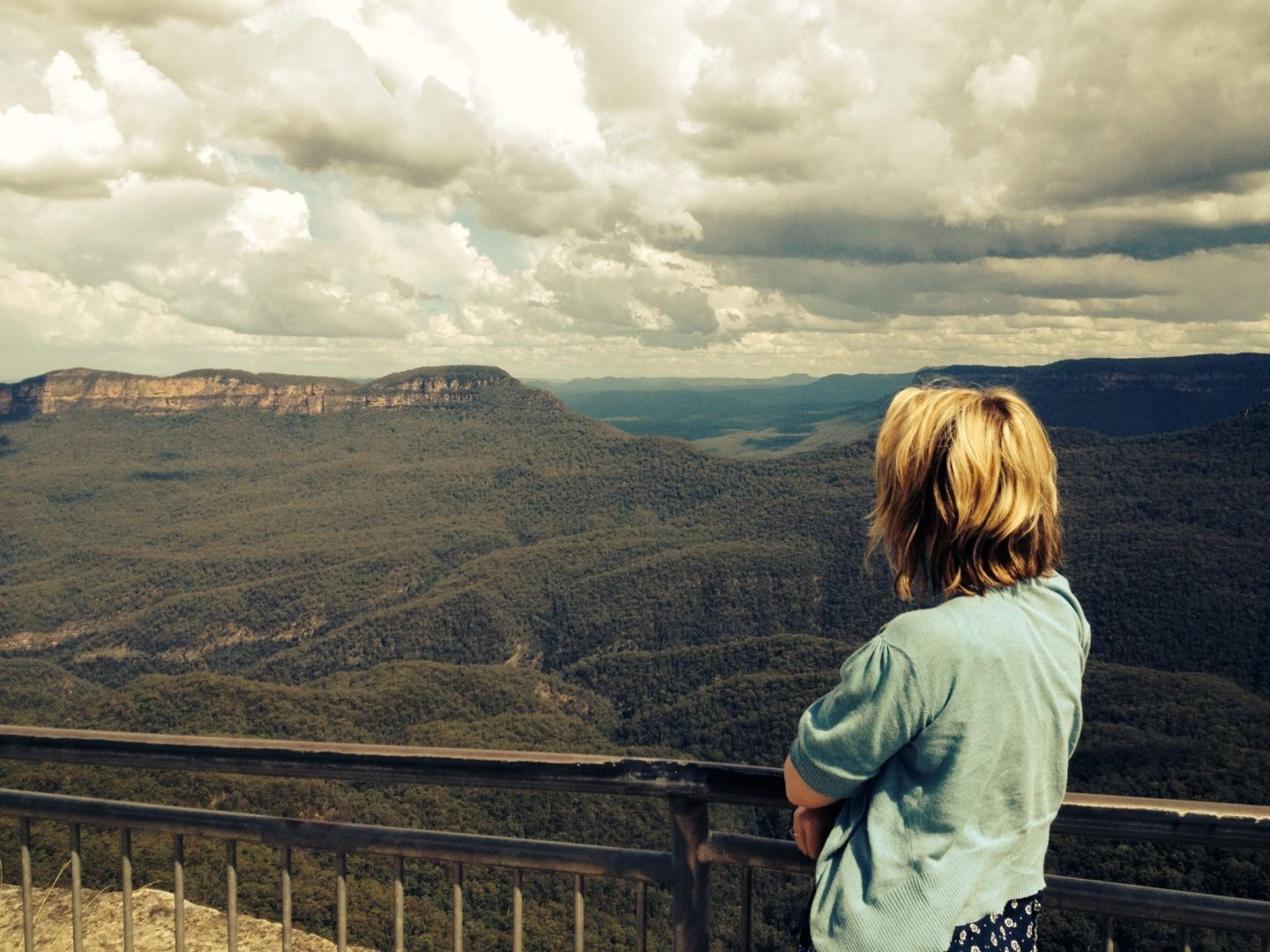 Laura taking in the view of the Blue Mountains