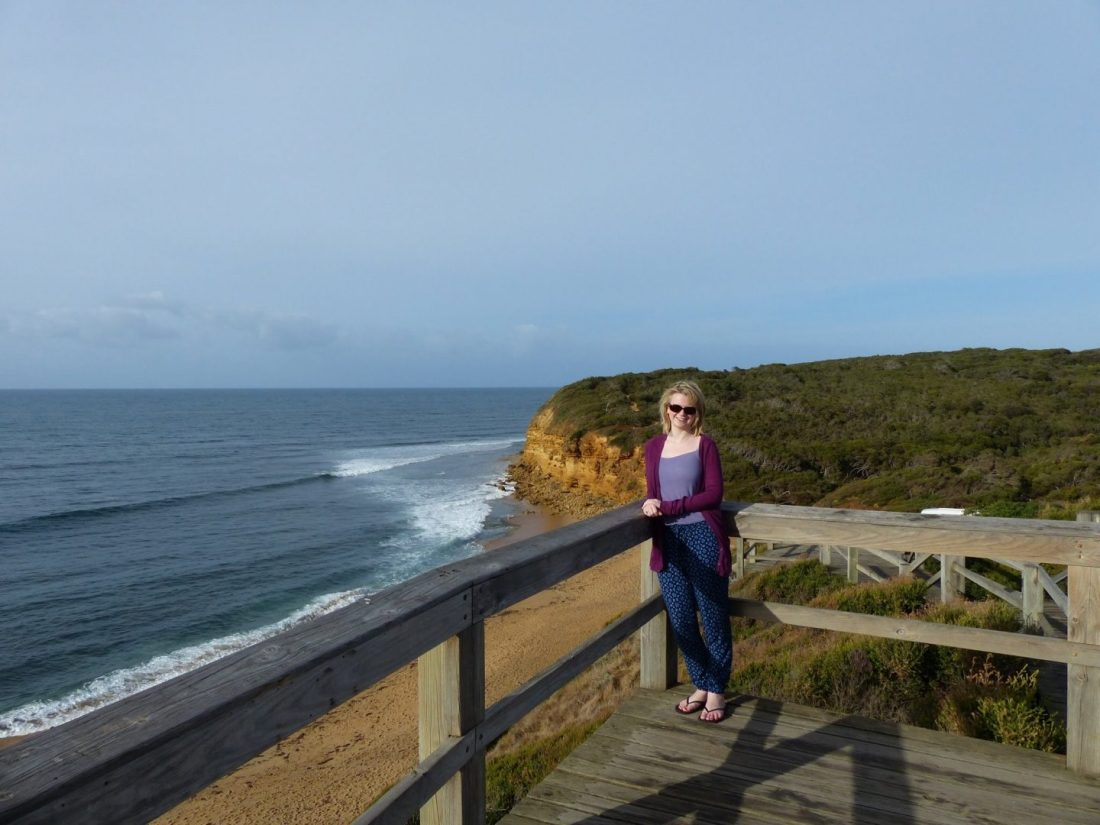 Laura overlooking Bells Beach, Victoria