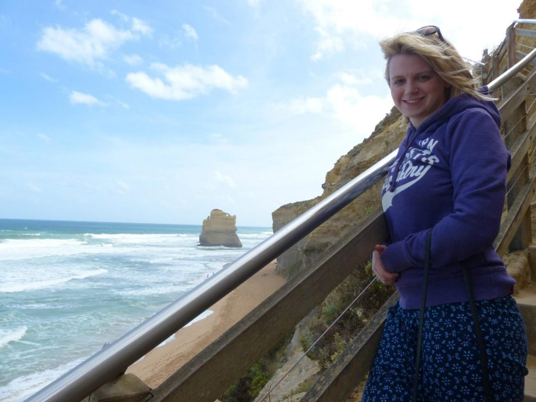 Laura at the Twelve Apostles beach