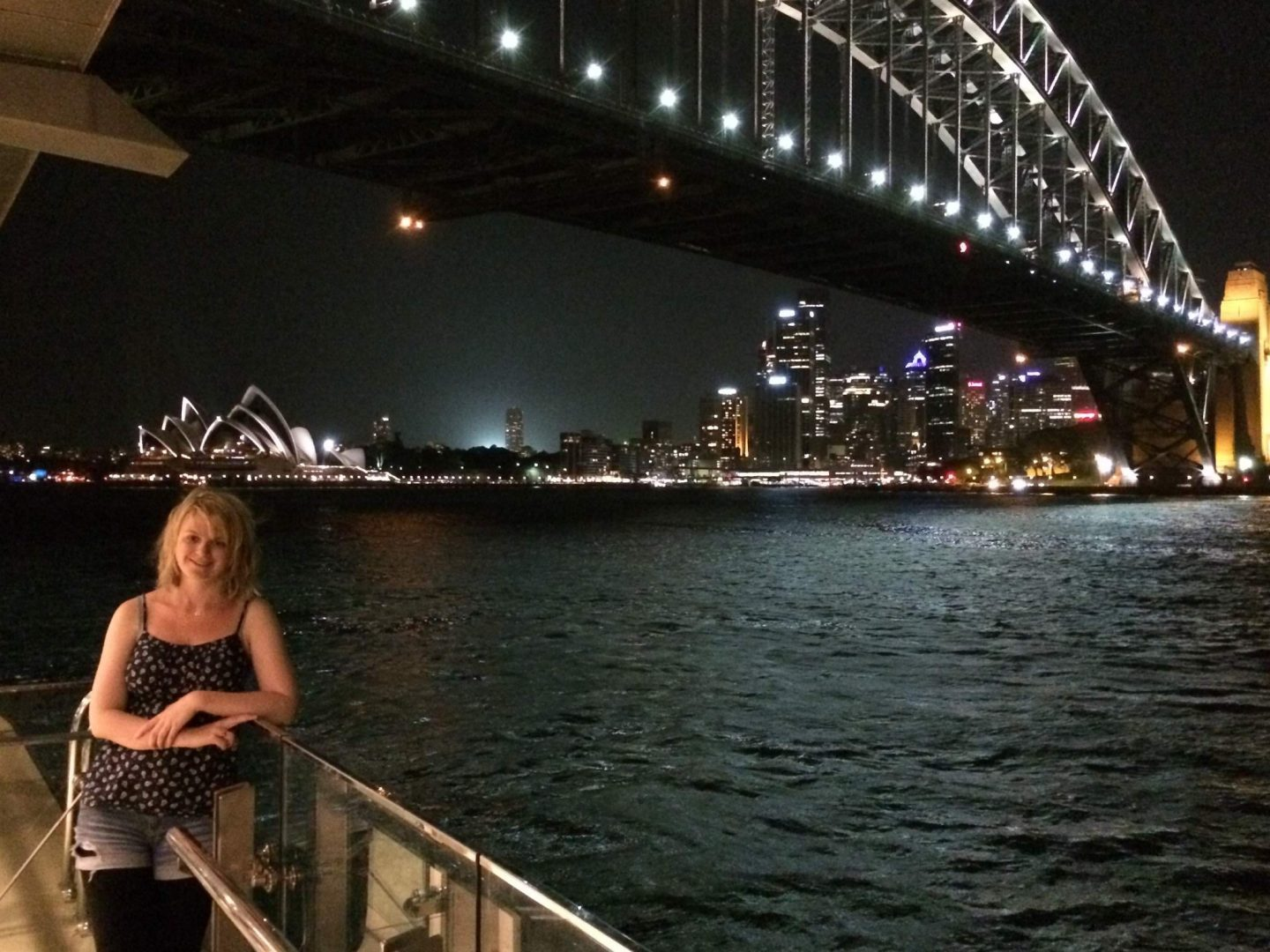 Laura at Milsons Point at night