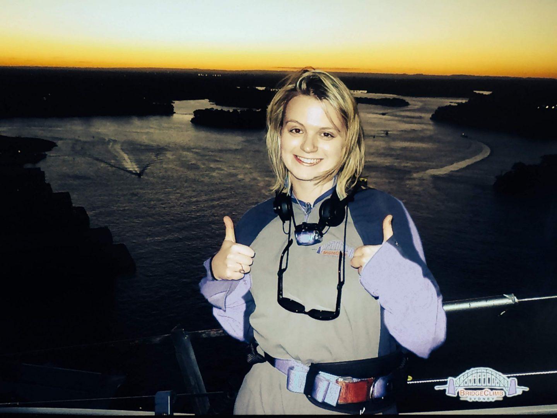 Laura on Sydney Harbour Bridge Climb