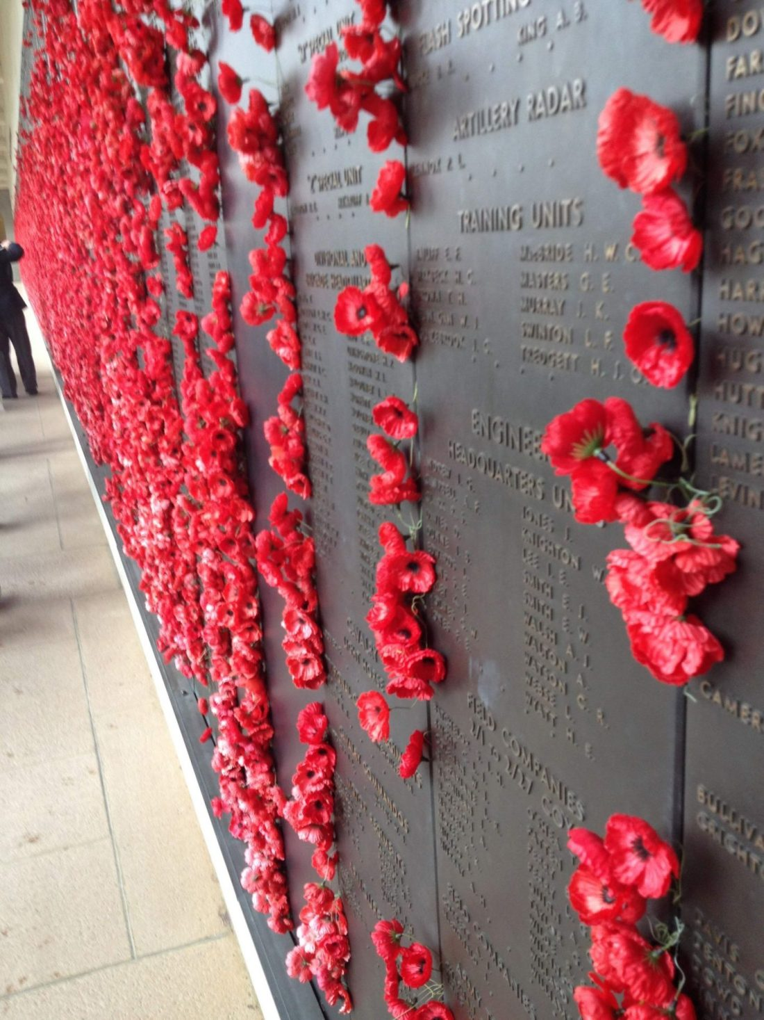Wall of poppies at the Australian War Memorial in Canberra