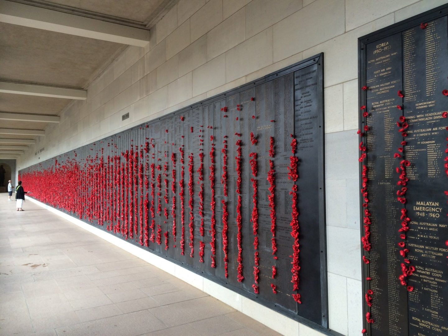 Wall of poppies at the Australian War Memorial
