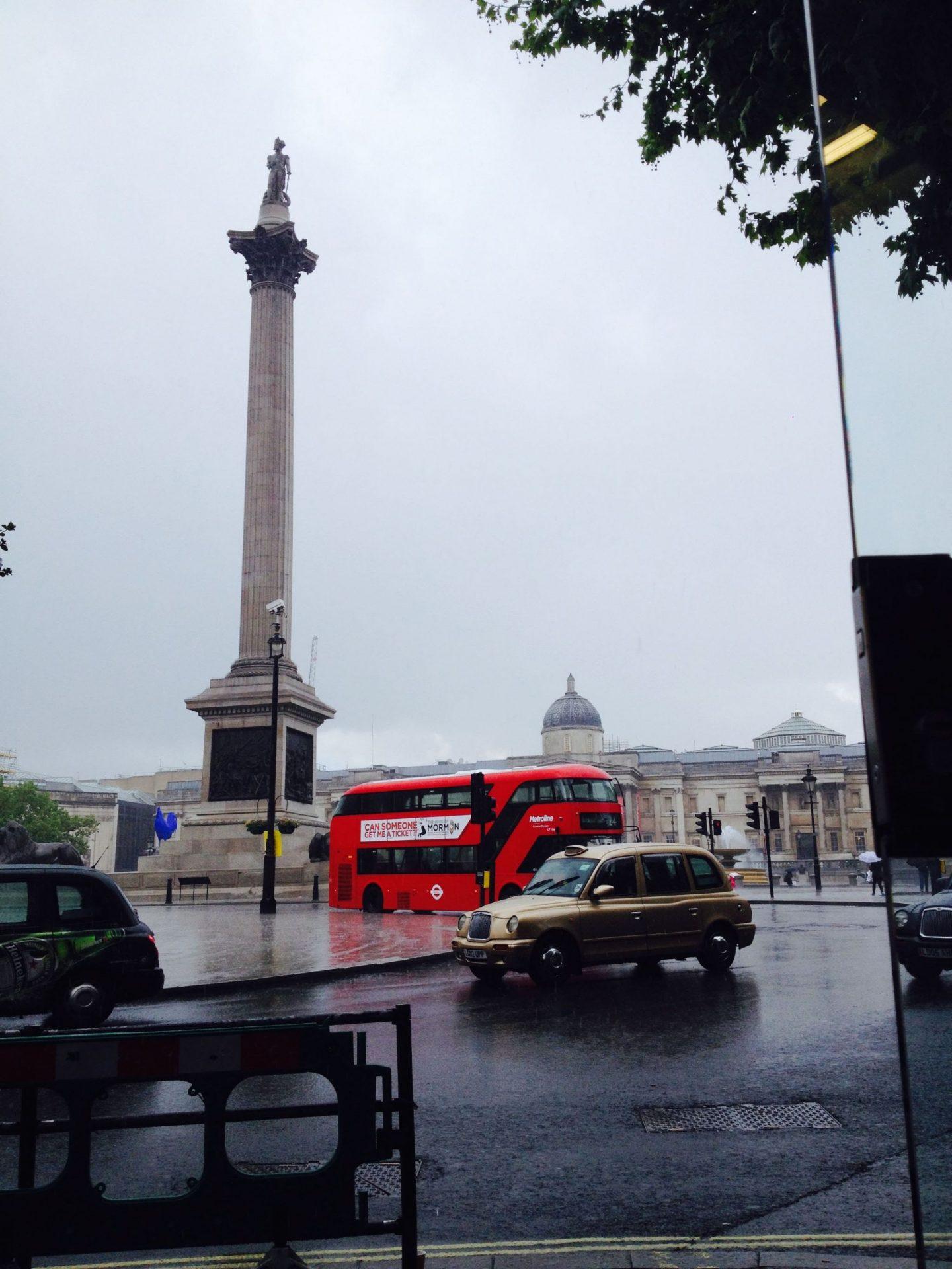 A drizzly Trafalgar Square, London