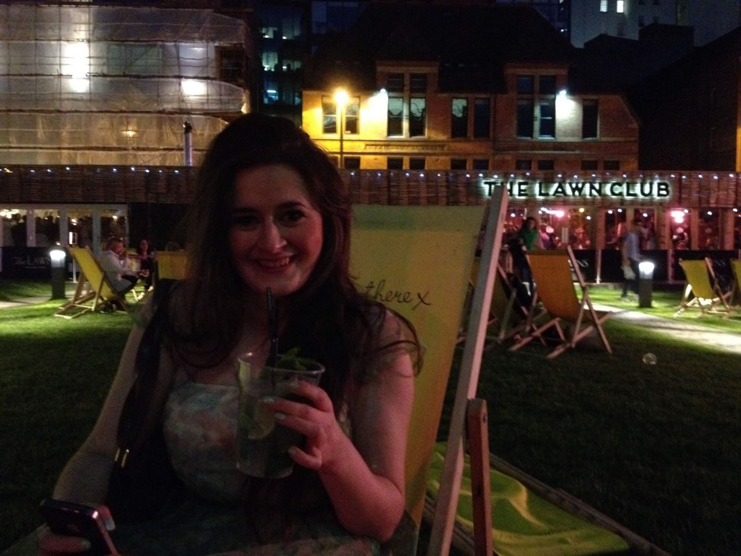 On the deckchairs at the Lawn Club in Spinningfields, Manchester