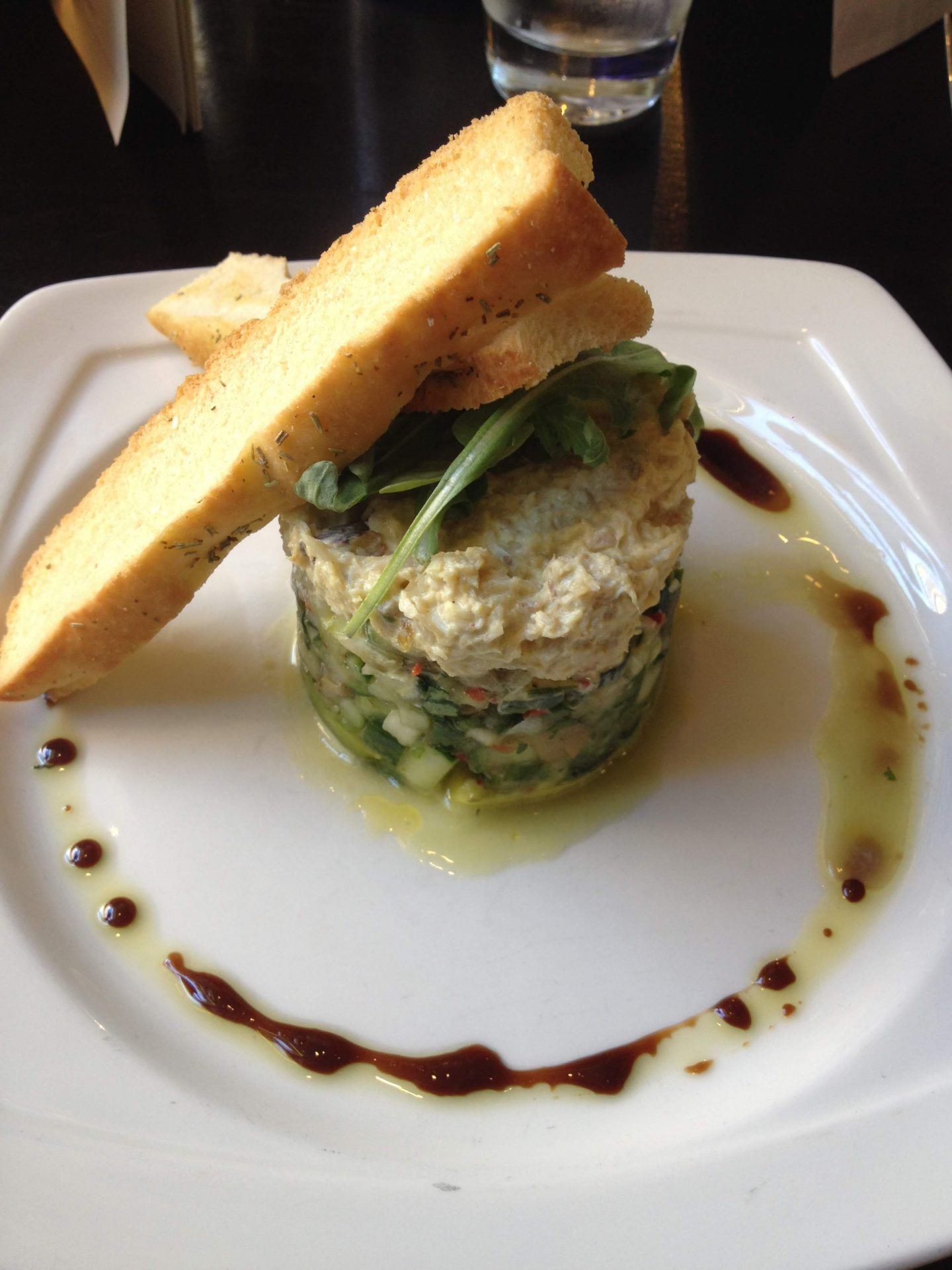 Crab and avocado stack at Browns, Newcastle