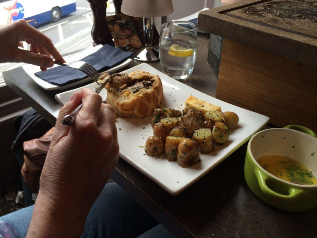 Beef Wellington and potatoes at Kyloe, Edinburgh
