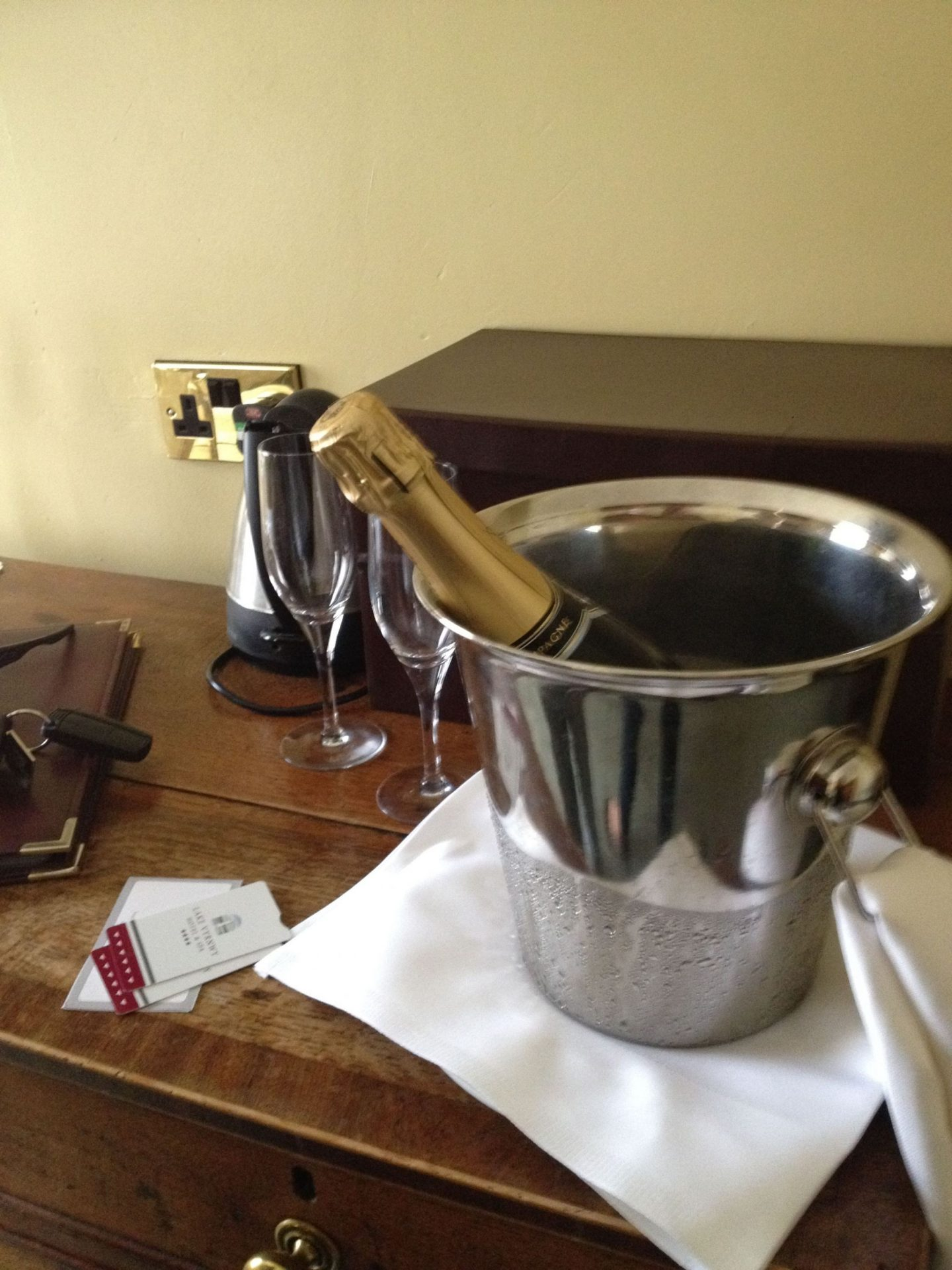 Bottle of bubbly at Lake Vyrnwy Hotel, Wales