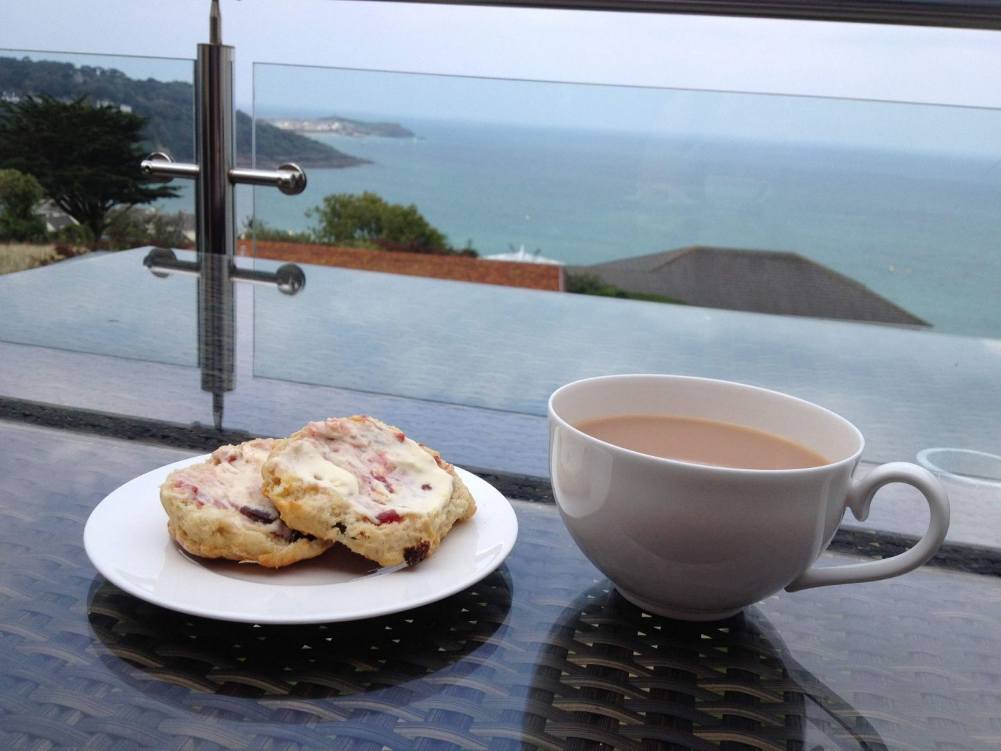 Cornish cream tea and scones with a view of St Ives, Cornwall