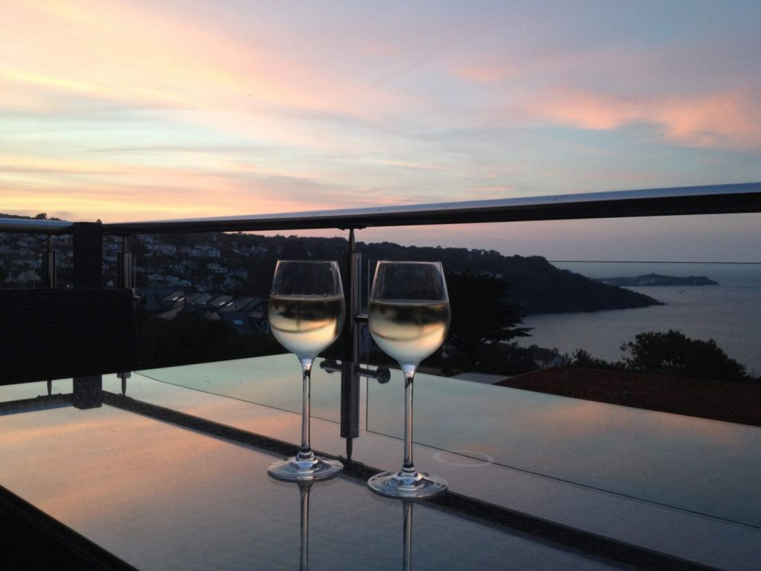 Wine with a sunset over St Ives, Cornwall