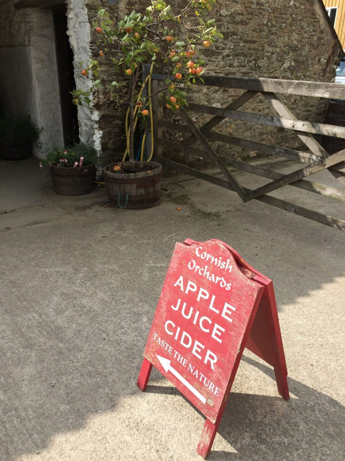 Sign for Cornish Orchards, near Looe