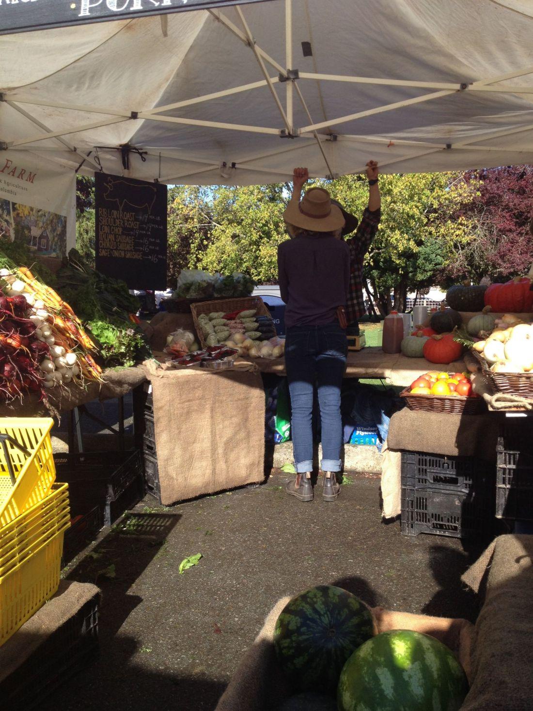 Market stalls on Saturday