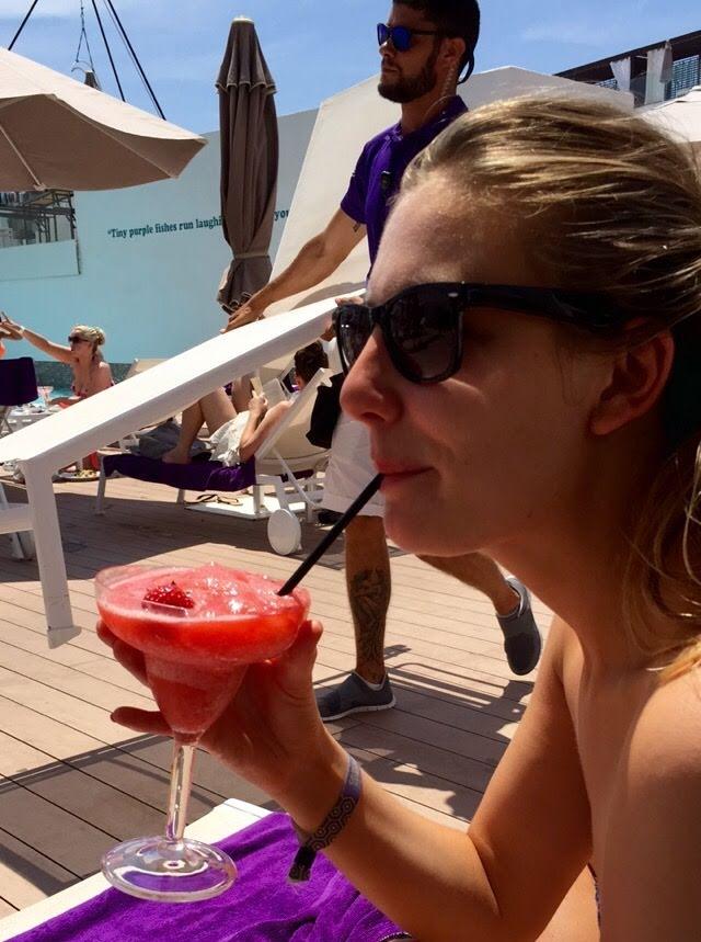 Jo with a strawberry daiquiri