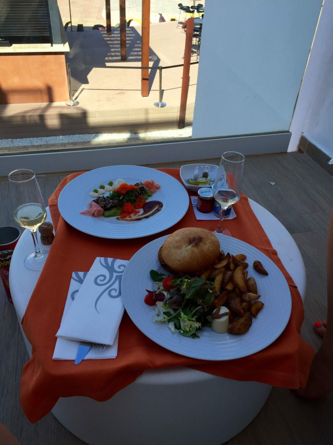 Room service on the balcony