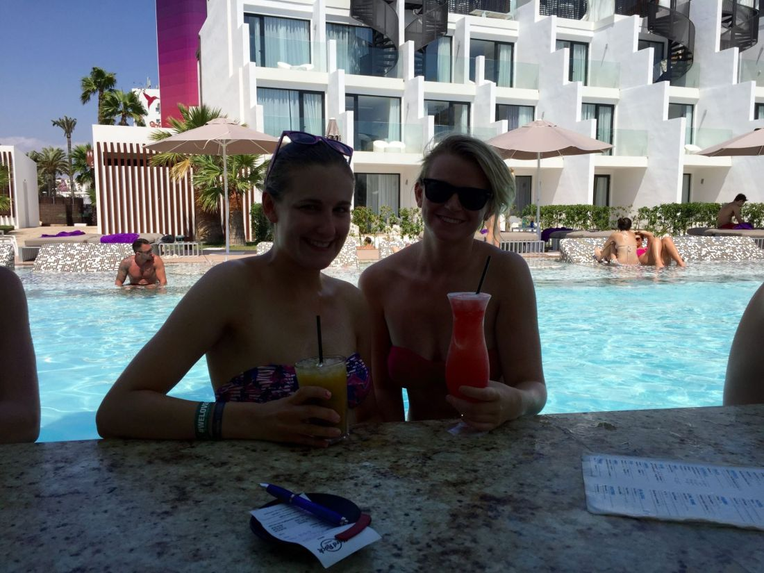 At the swim up bar at the Hard Rock Hotel Ibiza