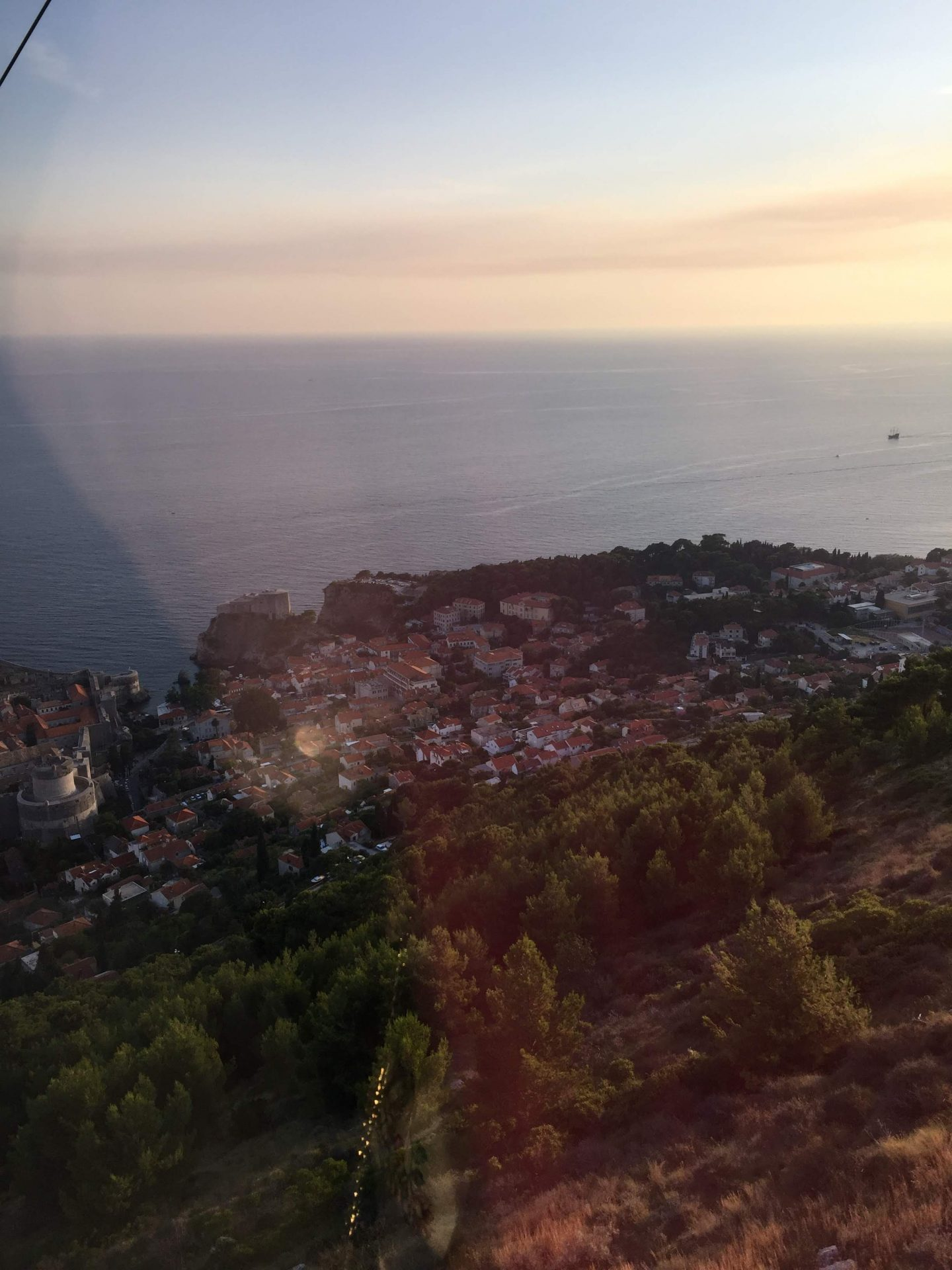Sunset over the Croatian city from the Dubrovnik Cable Car